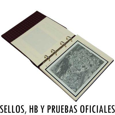 Colección de hojas para sellos y pruebas oficiales de artista con álbum incluido
