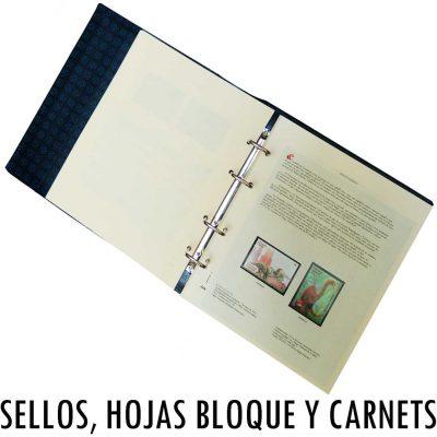 Colección de hojas para sellos, hojas bloque, carnets con álbum incluido