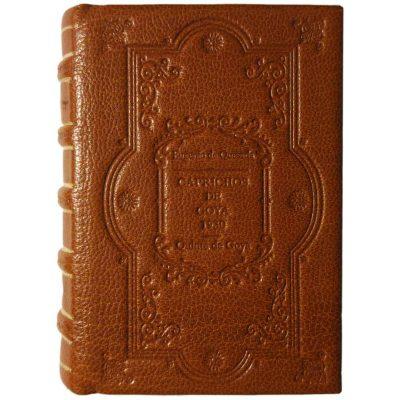 Edición monográfica de bibliofilia filatelia y bibliotelia con encuadernación en plena piel de los caprichos de goya con los sellos de la quinta de Goya de 1930