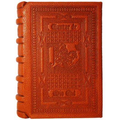 Edición monográfica de bibliofilia filatelia y bibliotelia en plena piel del Mio Cid con todo el cantar del mio cid reproducido y con el sello del cid matasellado del año 2007