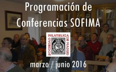 Programación de Conferencias SOFIMA de marzo a junio de 2016