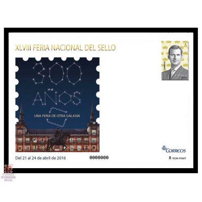 sobre entero postal 145, producto oficial de la xlviii feria nacional del sello de madrid 2016