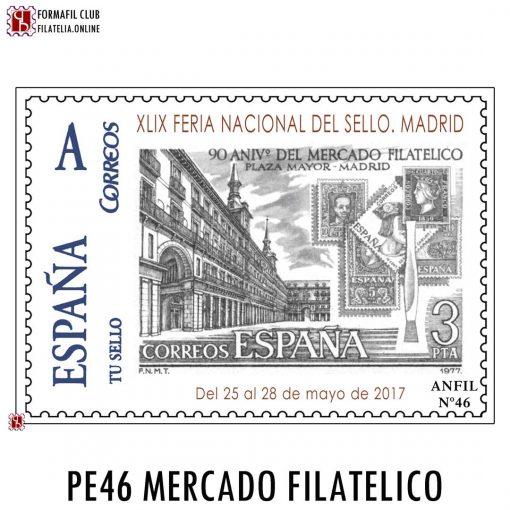 SELLO PERSONALIZADO ANFIL 46 90 ANIVERSARIO MERCADILLO PLAZA MAYOR DE MADRID 2017