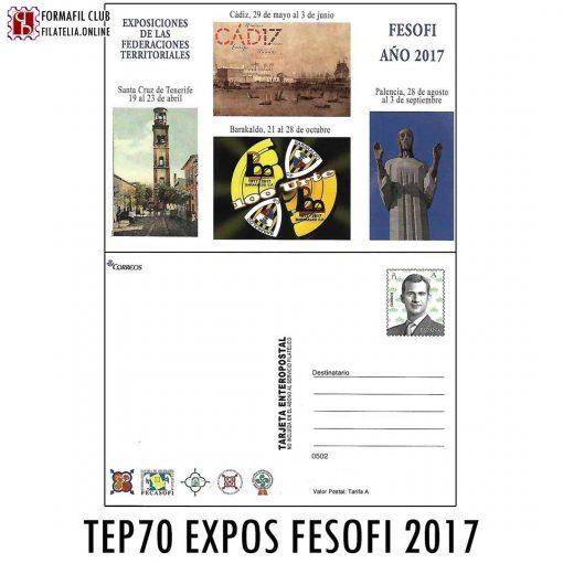 TARJETA ENTERO POSTAL 70 FESOFI TENERIFE CADIZ PALENCIA EXPOSICIONES 2017