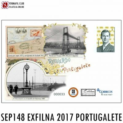 SOBRE ENTERO POSTAL EXFILNA 2017 PORTUGALETE