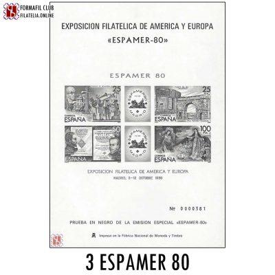 PRUEBA OFICIAL Nº 3 EXPOSICION FILATELICA AMERICA EUROPA ESPAMER 80