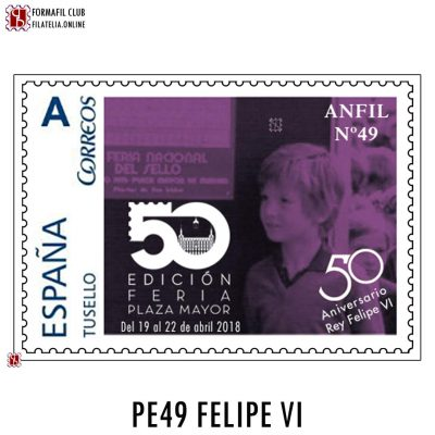 PE49 sello personalizado Anfil 49 Rey Felipe VI 50 aniversario
